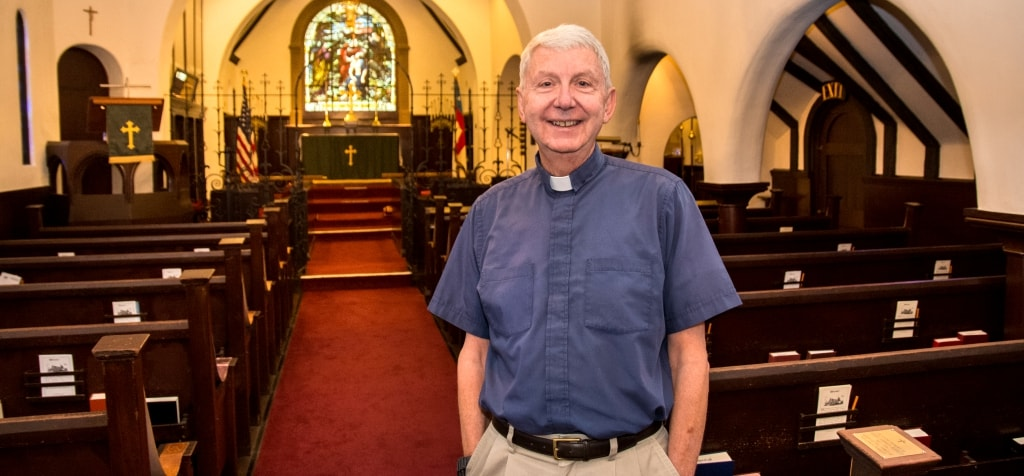 Father Bob Ott of St. John's Chapel, Episcopal church in Monterey, CA
